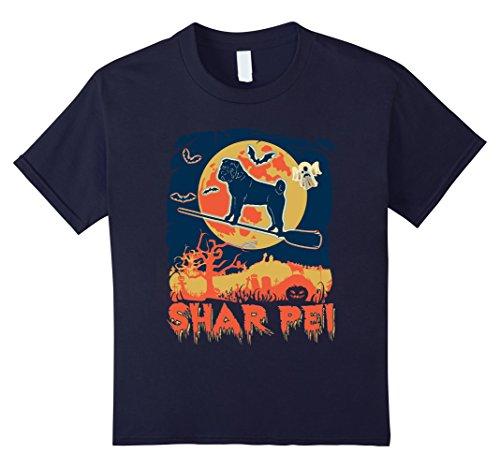 Shar Pei Halloween Costumes (Kids Vintage style shar pei Halloween shirt 12 Navy)
