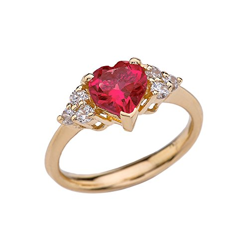 - CaliRoseJewelry Yellow Gold 14k Heart Shape Created July Ruby Gemstone Birthstone Ring (Size 10)