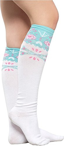 White-Socks-with-Light-Blue-and-Pink-Sugar-Skull-from-Sourpuss-Clothing