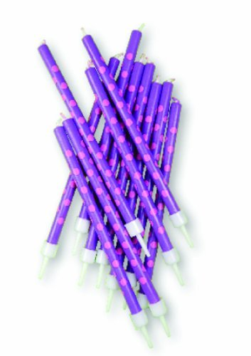 - Purple with Pink Polka Dot Party Candles & Holders x 12