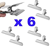 Pro Chef Kitchen Tools Stainless Steel Chip Bag Clip - Set of 6 Heavy Duty, Wide Jaw Bulldog Binder Clips for a Tight Grip Seal on Potato Chips, Coffee Bags, Fresh Food Storage