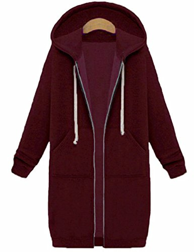 - Sexyshine Women's Casual Loose Zip up Long Hoodies Sweatshirt Outerwear Jacket Tunic Coat with Pockets(WR,2XL)