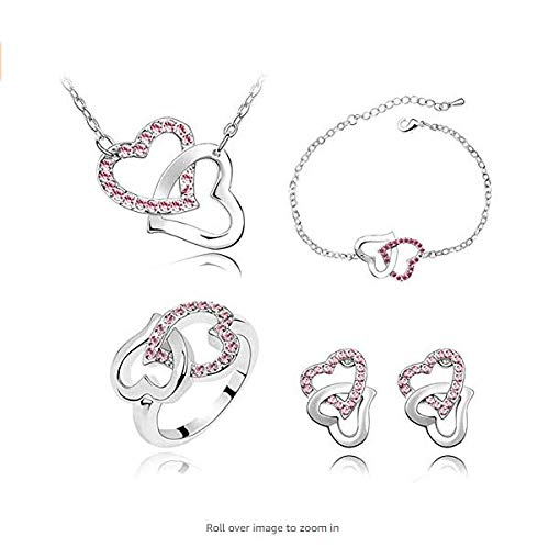 andy cool Womens Silver Filled shine Austrian Crystal Heart Shape Chain Necklace Earrings rings Jewelry Sets Women Gift