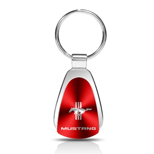 Ford Mustang Tri-Bar Red Tear Drop Key Chain