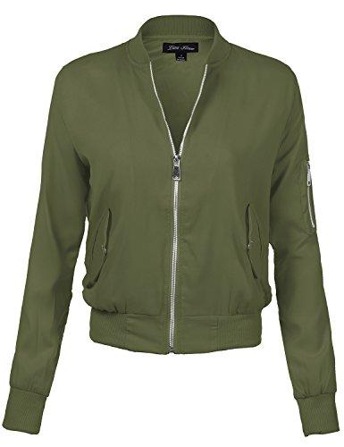 Transitional Olive Green - Luna Flower Women's Long Sleeve Stylish Zip-Up Ribbed Trim Bomber Jacket Olive Large (GJAW104)