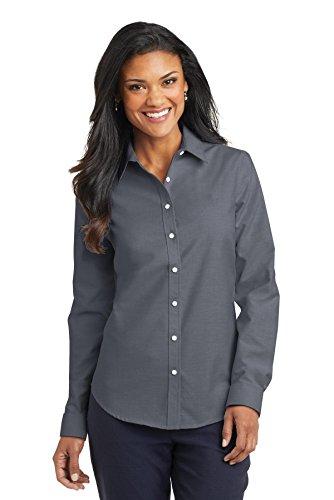 Port Authority Womens SuperPro Oxford Shirt (L658) -BLACK - Shirt Placket Oxford
