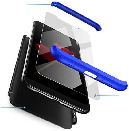 AKC Funda Compatible Samsung Galaxy A40 con 360/°Todo Incluido Anti-Scratch HD Vidrio Templado Carcasa Case,Ultra Fina 3 en 1 Hard PC Caja Cover Resistente al Desgaste-Azul Negro con 2