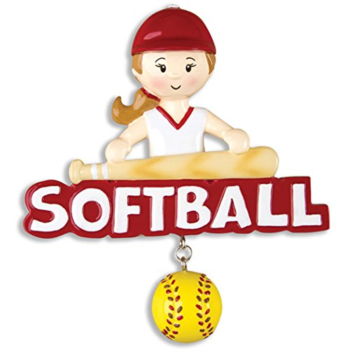 Personalized Softball Girl Christmas Tree Ornament 2019 - Female Athlete Word Mush-Ball Dangle Score Kitten Stick Ladies College Hobby School Mitt NFL Year - Free Customization (Brunette Blonde)