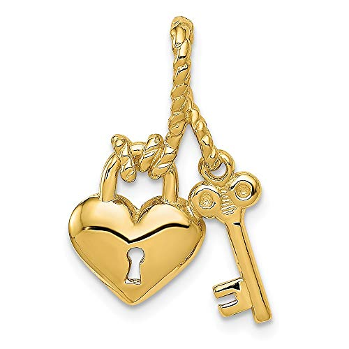 14k Yellow Gold Key Tied To Heart Lock Pendant Charm Necklace Slide Chain Love With Fine Jewelry Gifts For Women For Her