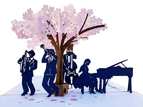 - iGifts And Cards Smooth Jazz Band 3D Pop Up Greeting Card - Music Lovers, Awesome, Under a Cherry Blossom, Notes, Inspirational, Cool, Half-Fold, Celebration, All Occasion, Happy Birthday, Anniversary