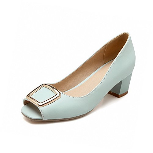 Pu Pull AgooLar Peep Blue Toe Kitten On Solid Heels Sandals Women's Sgg0wfqZ