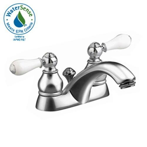 - American Standard 7411.712.002 Hampton Two-Handle Centerset Lavatory Faucet with Speed Connect Pop Up Drain and Porcelain Levers, Polished Chrome