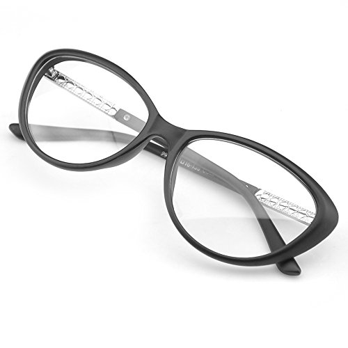 PenSee Womens Oval Cat Eye Retro Eyeglasses Frame Clear Lens Glasses (Matte - Oval Women Eyeglasses Faces With For