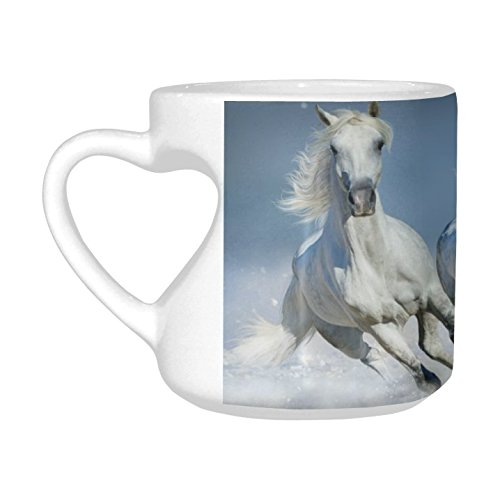 InterestPrint Heart-shaped Coffee Travel Mug Cup with Sayings Beautiful Arabian Horse Run in Snow Winter Field Ceramic Mug, Unique Valentine's Day Gifts for Men Women Him Her Boy Girl Friend by InterestPrint