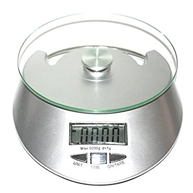 Foods Scale Best Digital Kitchen Weight, 2 AA Batteries Included, Easy to Clean Tempered Glass Surface, Silver Elegant Modern Design Multifunction Electronic LCD Display American Measures Lb,oz,gram
