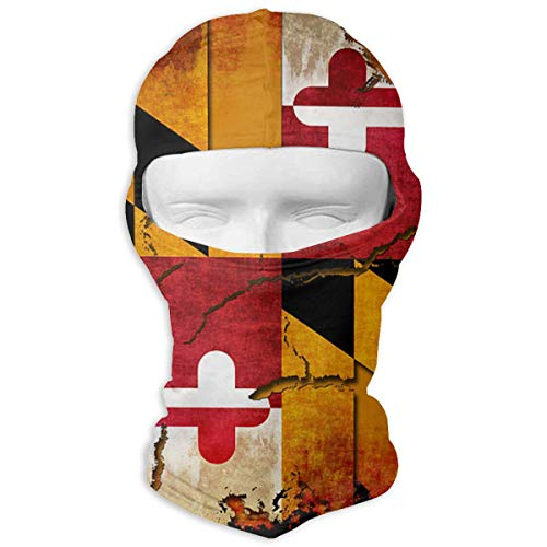 (Xieadery Vintage Wooden Maryland Flag Print Balaclava Ski Mask UV Sunscreen Headgear Hat Windproof Cap Cold Weather Face Motorcycle Mask Outdoors Helmet Liner Mask)