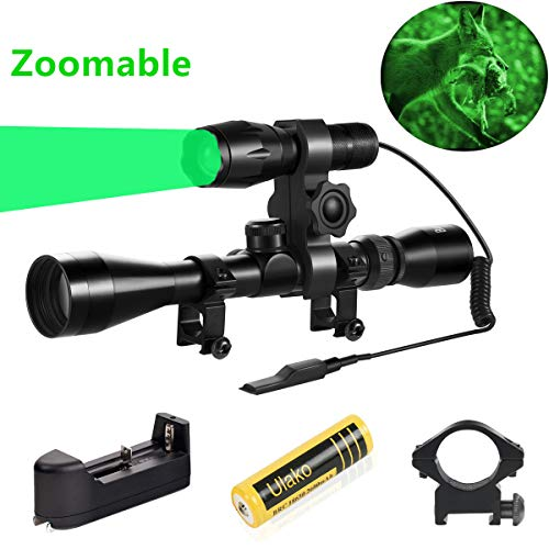 Ulako Green Light 350 Yards Spotlight Flood Light Zoomable Tactical Hunting Flashlight Torch for Hog Pig Coyote Varmint Predator Rifle