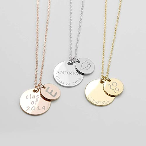 SAME DAY SHIPPING Before 12pm Personalized Graduation Necklace Name Necklace College Graduate Gift High School Women Graduation Grad Class of 2019 Customized - LCN-NC]()