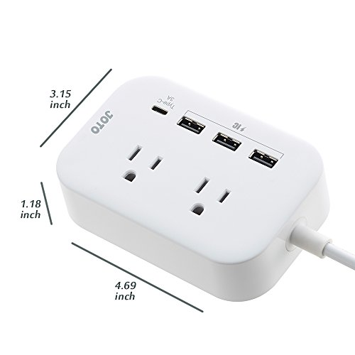 JOTO 2 Outlet Surge Protector Power Strip with USB Smart Charger (4 Port,5V 7.4A),with Type C Charging Port, 6.6ft Long Cord Extension, Home Office Desk Nightstand Travel Charger Station -White by JOTO (Image #1)
