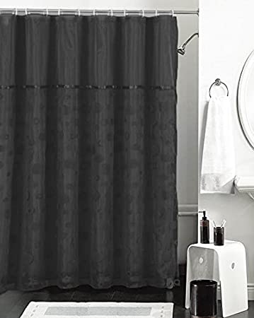 Amazon.com: Black and Sheer Double Layer Shower Curtain with ...