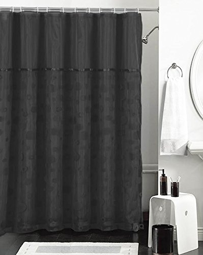 Black And Sheer Double Layer Shower Curtain With Flocked Bubble Circle Design