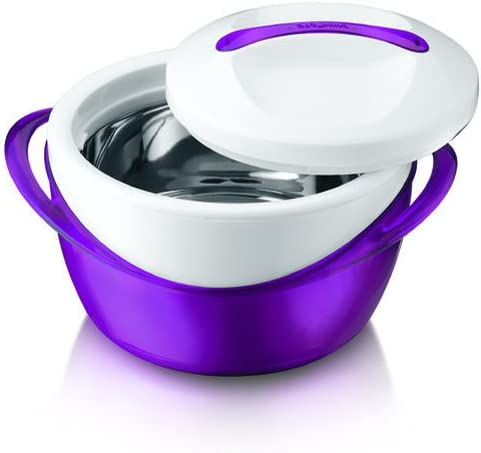 MICROWAVE SAFE CASSEROLE ONE TOUCH INSULATED SERVING DISH HOT POT 1L PURPLE