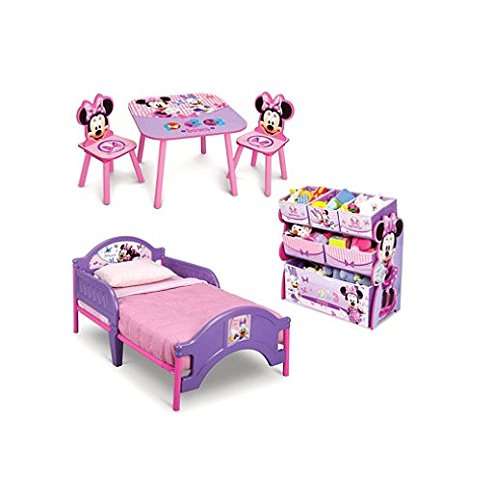 Minnie Mouse Toddler Bedroom Furniture 3 Piece Set Girls Pink Toddler Bed with Minnie Multi Bin Toy Box and Kids Minnie Art Table and Chairs