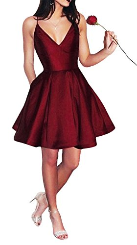 Yangprom Short Spaghetti Straps V-neck A-line Homecoming Dress with Pockets Burgundy 4