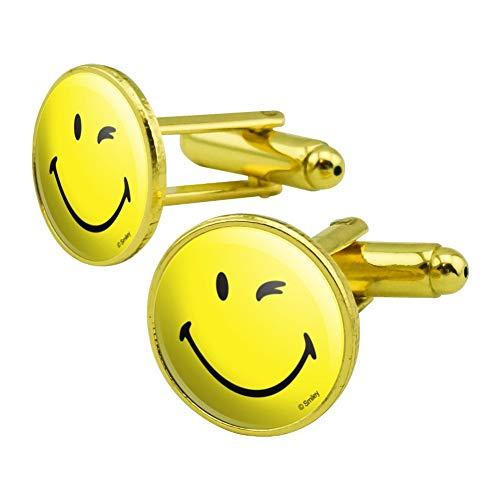 (GRAPHICS & MORE Smiley Smile Happy Wink Yellow Face Round Cufflink Set Gold Color)
