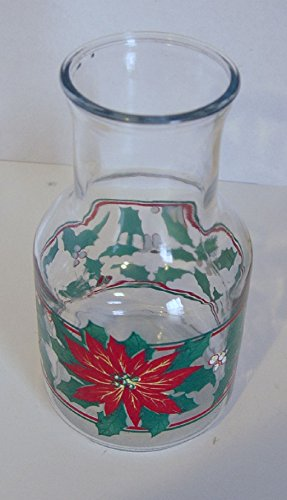 Anchor Decanter (Vintage Christmas Poinsettia and Holly Juice Decanter Glass Carafe Pitcher 8.75