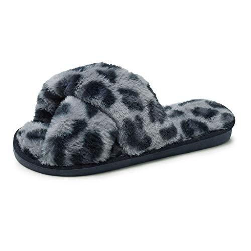 - DENER Women Winter House Slippers Moccasin,Leopard Furry Soft Bottom Slip on Wide Width Comfort Indoor Bedroom Warm Shoes (Blue, 6.5-7 M US)