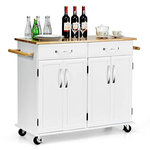 Giantex Kitchen Trolley Cart, Rolling Utility Island w Rubber Wood Top, Large Storage Easy-Clean with Smooth Lockable Wheels Home Kitchen Carts White