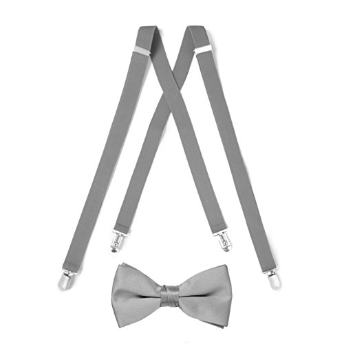 Suspender & Bow Tie Set (Adult, Silver)
