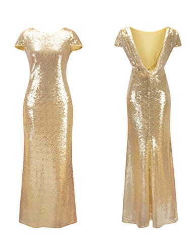 Santwo Women's Sequined Long Bridesmaid Dresses Formal Wedding Party Evening Prom Gown (A, L) ()