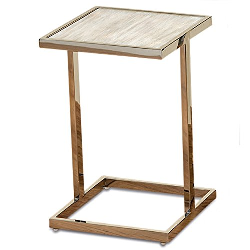 Cheap Whole House Worlds The Crosby Street Side Tables, Polished Stainless Steel Frame with Bleached Driftwood-Gray Pine Inset, 1 Ft 3″ Tall
