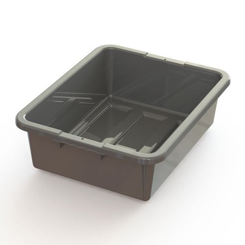 21-1/4'' L x 17-1/4'' W x 7'' H Gray Plastic Bus Box Container (Lids Sold Separate) (3 Containers)