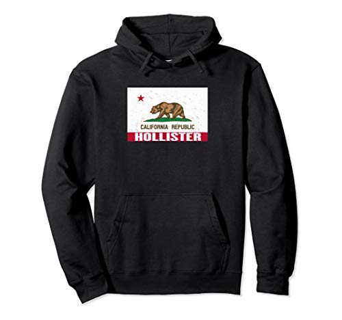 Hollister, California - Distressed CA Republic Flag Pullover Hoodie (White Hollister Sweatshirt)