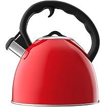 Vremi VRM030005N Whistling Tea Kettle, 2 quart/1.9L, Red