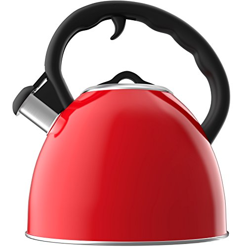 Vremi Whistling Red Tea Kettle for Stovetop - 2 Quart Stainless Steel Hot Water Kettle Tea Pot for Gas or Electric Stove Top - Small Petite Teapot Cool Cute Metal Modern Retro Tea Kettles Fast Boil
