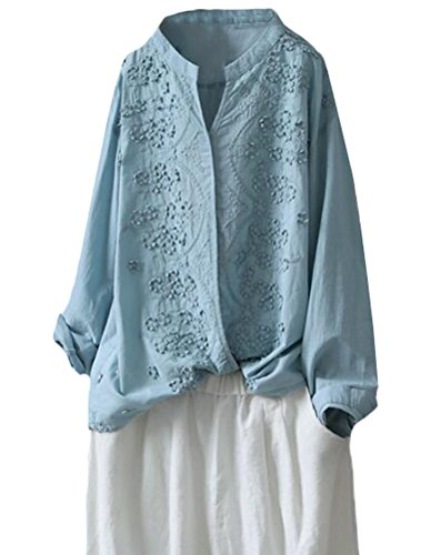 Minibee Women's Long Sleeve Blouses Standing Collar Embroidery Cotton Linen Tunics