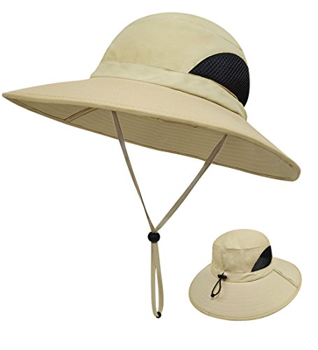 LETHMIK Outdoor Waterproof Fishing Hat,Summer UV Protection Breathable Boonie Hat Hunting Safari Sun Hat Beige - Space Shades