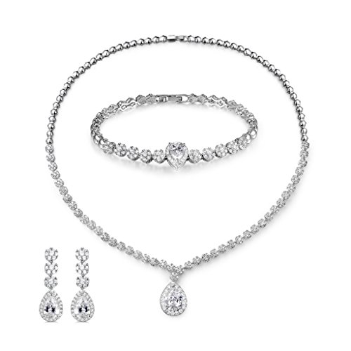 (MASOP Bling Crystal Bridal Wedding Jewelry Sets for Women Short Necklace Bracelet Dangle Earrings)