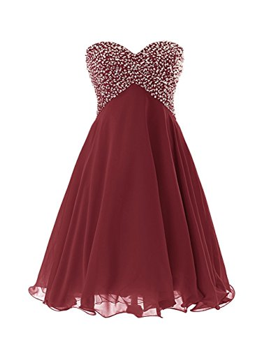 ModeC Beaded Homecoming Dresses Short Sweetheart Chiffon A-line Cocktail Gown Burgundy US10