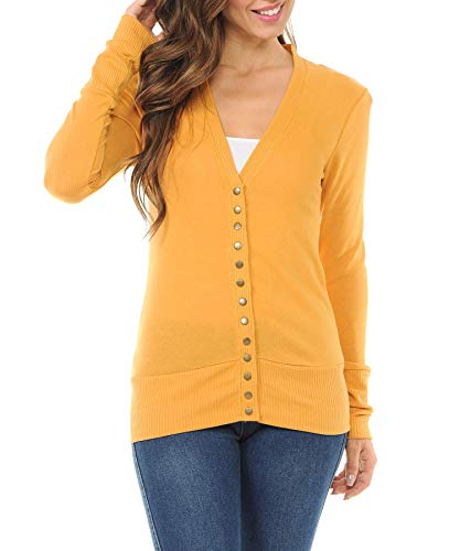 (Women's Snap Button Sweater Cardigan with Ribbed Detail-Ash Mustard-M)