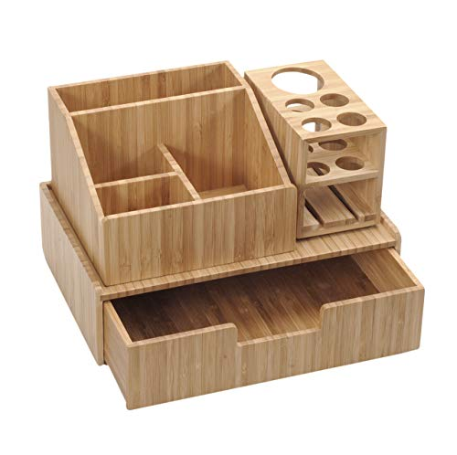 Bamboo Makeup Organizer Complete Combo, 3 PC set INCLUDES: 5 Section Brush Holder, 4 Compartment Cosmetic Caddy & Drawer… 2