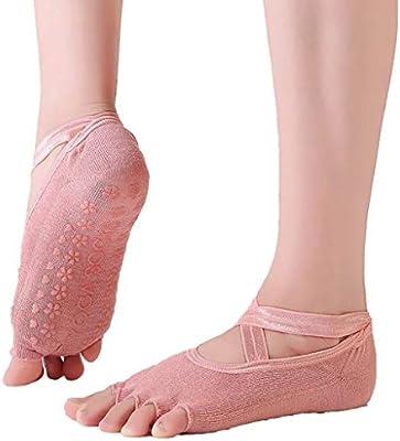 FlYHIGH Calcetines Mujeres Niñas Yoga Profesional Pilates Calcetines Zapatillas No Show Correa Cruzada de Corte bajo Color Liso Toeless/Five Toe ...
