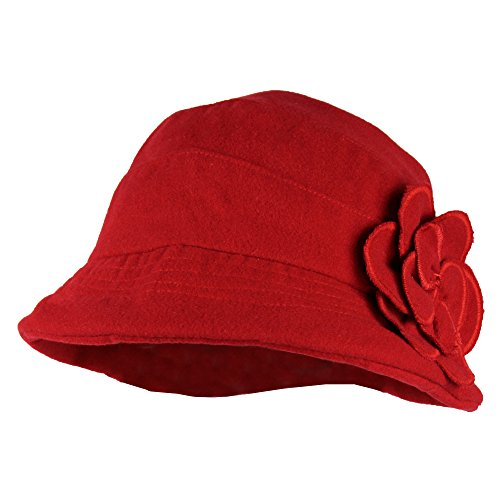 Red Packable Wool Blend Winter Cloche Bucket Hat w/ Flower Accent for (Retro Bucket Hat)