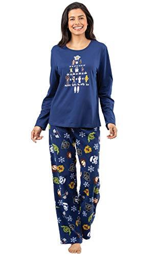 PajamaGram Star Wars Pajamas Women - Adult Christmas Pajamas, Blue, L, -