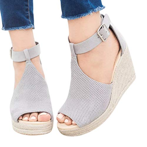 Fainosmny Womens Shoes Platform Sandals for Women Flock Leopard Sandals Plus Size Ankle Shoes Peep Toe Wedges Sandals Gray