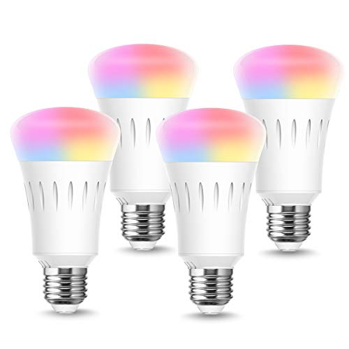 LOHAS Smart Light Bulb Works with Alexa, A19 LED Bulbs Dimmable 60W Equivalent E26 Ambiance Lights, Multicolored Wifi Light Bulbs Daylight Night Compatible with Google Assistant, Siri UL Listed, 4Pack